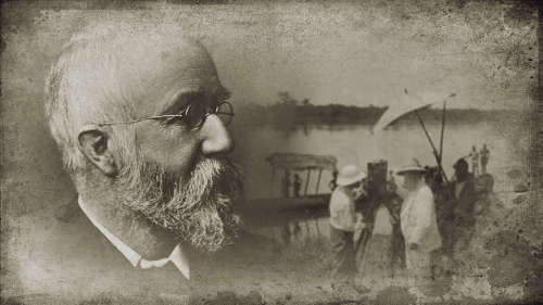 George Grenfell and William Forfeitt filming, Baptist Missionary Society steamship Peace in the background. Near Bolobo, Congo, c 1905.